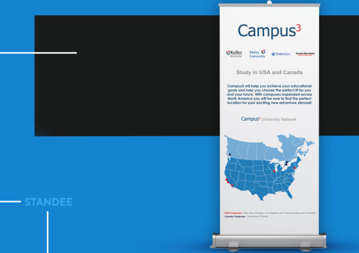Campus3, standee, emailer, designing, printing