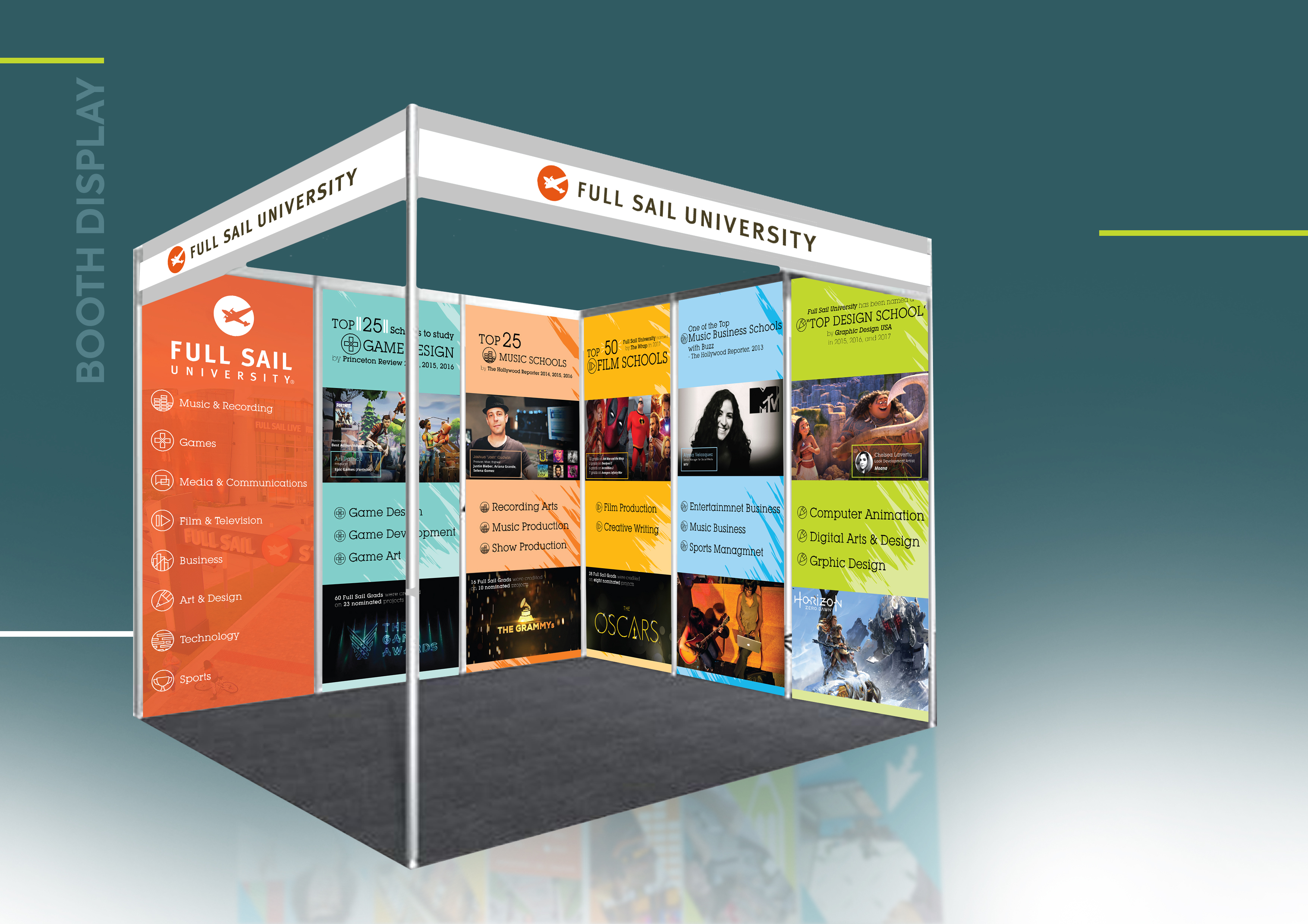 Full Sail University, Events, Stall design, recruitment, printing, cost-effective, overseas courier