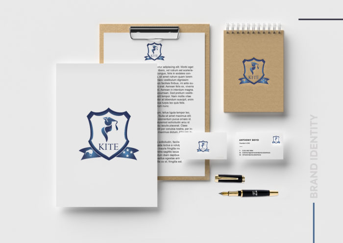 Kite Group, Brand Identity, collateral, kiwi group of institute of technology and education, poster design, letterpad design, card, pen