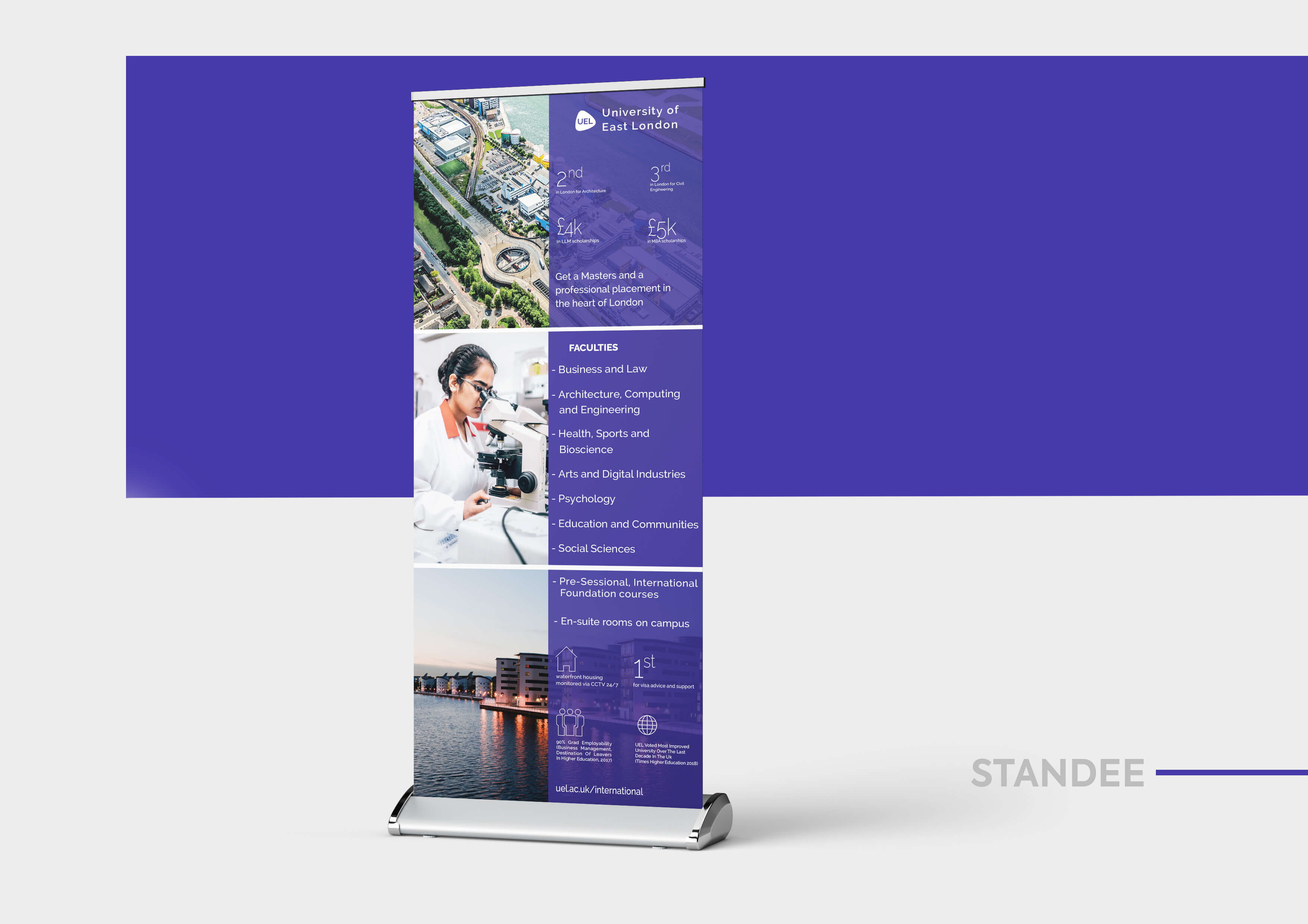 Standee, university of east london, designing, printing, university marketing