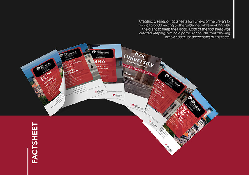 KOC Universitesi, Factsheets, cost-effective, designing & printing