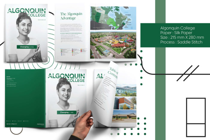 Algonquin university's, hue, printing, certificates, designing, overseas printing, overseas shipping, brochure