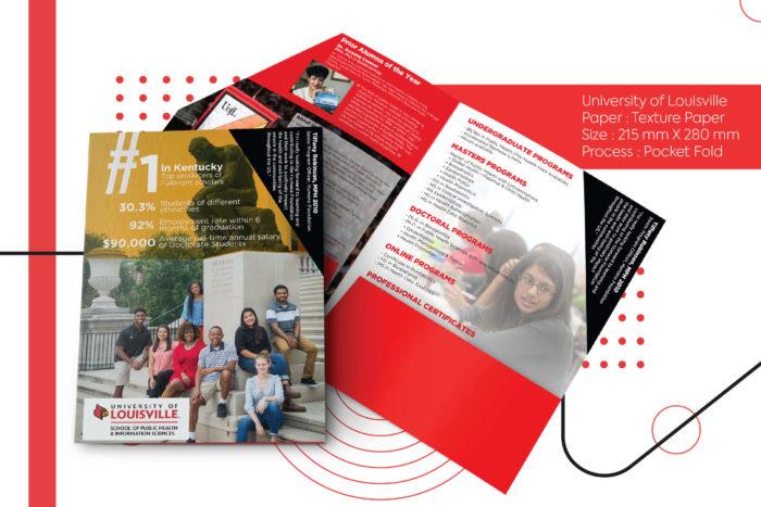 University of Louisville , brochure, printing, overseas courier