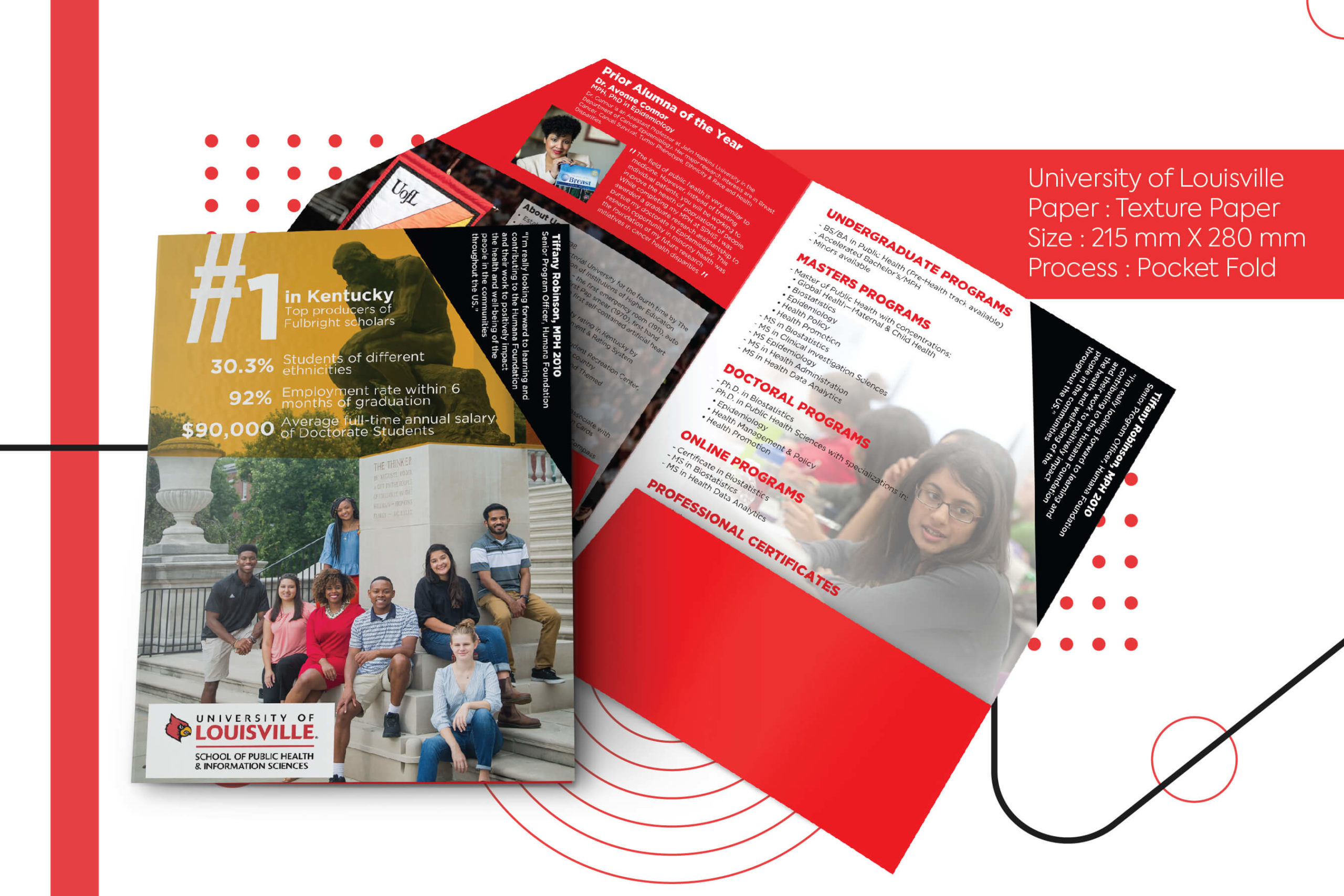 University of Louisville , brochure, printing, overseas courier